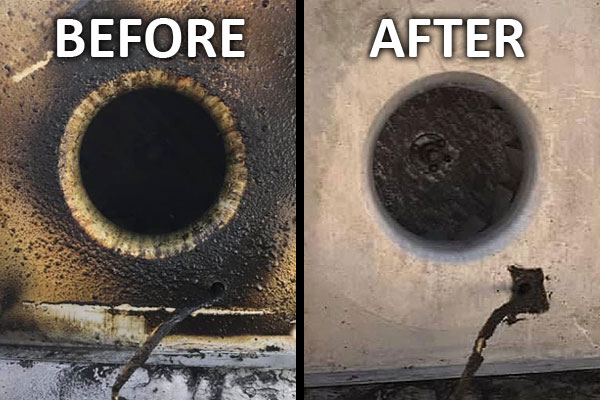 Before and After Exhaust Hood Cleaning